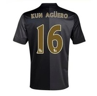 Top Thai version of the 2013-14 Manchester city away shirts with short sleeves football clothing 16# KUN AGUERO