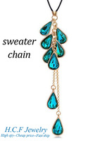 2013 New fashion jewelry water droplets tassel crystal sweater chain - more than eight star good color to choose Free shipping