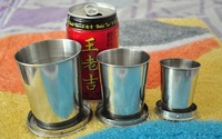 New Arrival 304 Stainless Steel Water Cups Retractable Drinking Cup Big 3 Pieces 240ml 140ml 75ml  Cup Set Cheap Sale