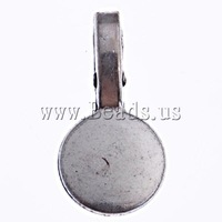Free shipping!!!Zinc Alloy Glue on Bail,sale, Flat Round, antique silver color plated, nickel, lead & cadmium free