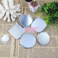 Metal side mirror yuanjing heart mirror makeup mirror silver diy rhinestone