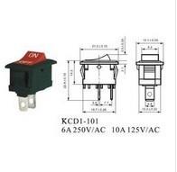 Free shipping 100pcs-KCD1-101 rocker switch ( 2 feet ) volume 21MM * 15MM