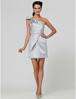 Lost in City Nights! Party Dress Prom Dress Sheath/ Column One Shoulder Short/ Mini Satin Bridesmaid Dress