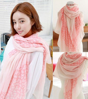 2014 Fashion style flowers dot stitching scarf cotton blend printing scarves for women