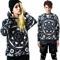 2014 spring NEW Hot Women men Hoodies Religious skeleton killstar KTZ Geometric printing loose winter Sweatshirts  plus size