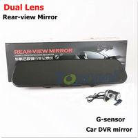 Car DVR camera dual lens X16AV rearview mirror DVR recorder with G-sensor back mirror car black box vehicle cam free shipping