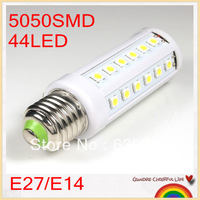 10pcs/lot E27/E14 9W 44 LED 5050 SMD Corn Bulb Spot Lamp AC 220V/110V warm white/ cool white Light free shipping