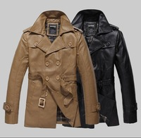 Hot Selling Men trench PU leather Jacket Men's Motorcycle Coats & Jackets 2014 Fashion Autumn -Summer Clothes Military Coat S448