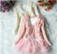 Fashion Baby Kids Spring Autumn Clothing Set Long Sleeve Lace Pearl Cardigan Coat + Long Dress 2pcs Girls Set Children suit 1set