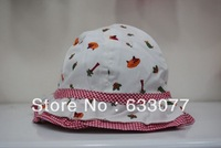 Children's hat plaid baby sun hat fisherman hat made of pure cotton cloth cap