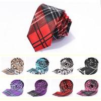 Print Slim Tie plaid Men's skinny ties Polyester pattern fashion neckties 8 designs for choose