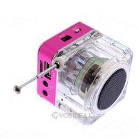 Portable Speaker Digital Mini Music Player Micro SD/TF USB Disk Speaker FM Radio with LCD Display Black,Silvery,Plum colors