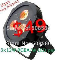 10pcs/lot, 3 pcs x 12W RGBA / RGBW 4-in-1 LED Par 38 Light IEC