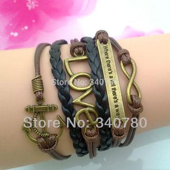 5 pcs Free shipping bracelets fashion charm bracelet anchor infinity love multi-layer bracelet with 5cm extend chain bracelet