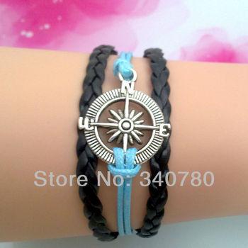 5 pcs Free shipping compass bracelet  nautical bracelet alloy antique silver compass charm bracelet leather cord bracelets