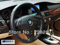 Hand Sewing Noble Genuine Leather Car Steering Wheel Cover Car Accessories With Holes Size36cm-40cm FREE SHIPPING