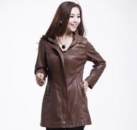Free shipping New 2013 Autumn Big Size Overcoat Medium-long Women Genuine Leather Sheepskin Coat,Leather Jackets,L XL 4XL 3XL