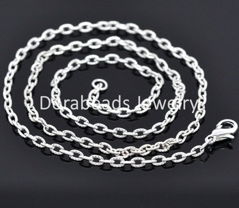 "Free Shipping! 12 Silver Plated Textured Chain Necklaces 4.2x2.8mm 18"" (B14097)"