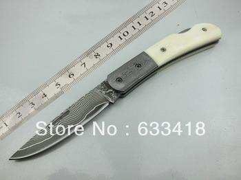 100% Damascus folding knife pocket knife ox bone handle High end HK Free shipping