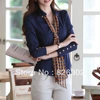 Free shipping 2013 Autumn long-sleeve slim waist line shirt top women's turn-down collar basic shirt career work wear shirt