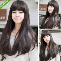 Dark Brown Women Girls Fashion Curly Long Hair Human Full Wigs With Wigs Cap New  Girls Long Straight Hair