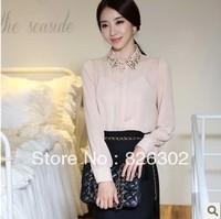 Free shipping 2013 spring autumn long-sleeve chiffon shirt fashion ol slim women's basic shirt big size  professional set