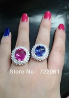 Spot 925 silver inlaid gems Tanzania blue ruby oval female flower ring