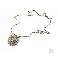 Pretty retro copper black eyes owl head photo box locket necklace pendant vintage style