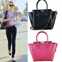 2013 New Style Genuine Leather Rivet Shopping Bag Handbag Fashion Shoulder Bag For Women
