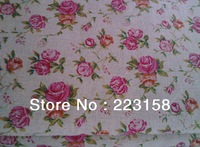 Lenin & cotton, Christmas decoration, diy raw handmade fabric,1.55 meters wide,pink roses