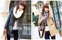 2013 new hot selling double-breasted wool coat autumn and winter women long coat free shipping