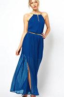 Fashion 2014 casual Style women summer Chiffon maxi dresses long beach wear With Gold Chain bohemian dress