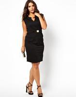 New 2014 Haoduoyi sexy deep v-neck chiffon dress zipper back pencil dress plus size women clothing knee-length dress metal belt