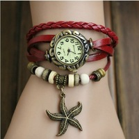 New Arrivals GENUINE LEATHER Hand Knit Vintage Watches, Bracelet Watches Starfish Pendant Free Shipping Dropshipping