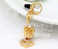 Crown Dust Plug,Heart Pendant Jewelry,Diamanted Plugs Accessories,20pcs/lot,Wholesale,Plug Charms For Iphone,Earphone Jack,XZ390