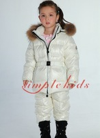 Retail Winter Boys Girls Children Nagymaros collar down jacket suit (coat + overalls) free shipping in stock