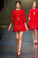 2013 Top Grade Autumn Runway Elegant Red Embroidered Red Lace Dress Women