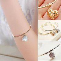 Wristband Womens Crystal Rhinestone Bracelet Heart Cuff Bangle Silver / Gold 1pcs