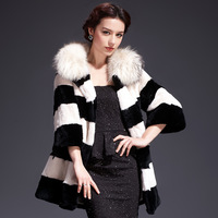 2013 Fashion Rex Rabbit Fur With Raccoon Dog Collar Coat For Women,Elegant Fur Garment Hot Sale ZX0265