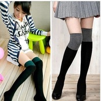 100% cotton double colorant match over-the-knee  basic long socks boots