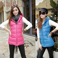 3XL Autumn and winter plus size Women vest PU with a hood vest leather jacket waistcoat slim down cotton vest women SC7097