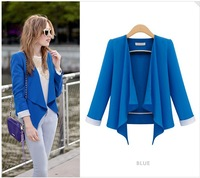 2013 New Free shipping women Autumn casual loose retri vintage candy color blazers coats outerwear long sleeve