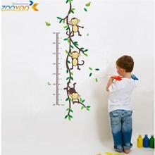 Venda quente 2015 macaco decalques de parede zooyoo1208 parede árvore animal arte crescimento chart adesivos de parede para de crianças diy decorações(China (Mainland))