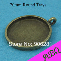 20mm Antique Bronze Round Blank Bezl Trays, Great to Be Pendant Tray and Earring Tray