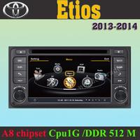 Car DVD Player GPS Navigation Radio Toyota Etios 2013  +3G WIFI + DVR +1GB cpu+ DDR 512M RAM + A8 Chipset