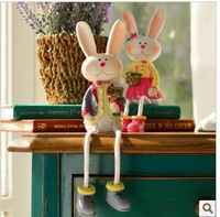 2 piece High quality resin craft decoration rustic home accessories wedding gift rabbit Fashion Free Shipping new Discounts