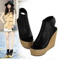 women's boots geguine leather  velvet unisex vintage round peep toe sandals linen weaving wedges shoes heel brief plain boots