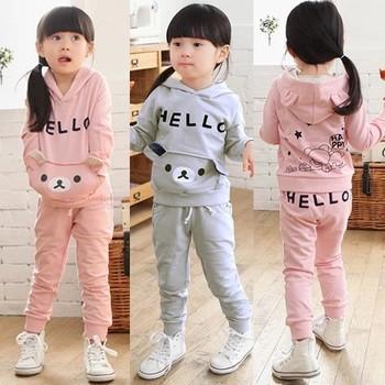 Retail 1 set new 2014 spring children's girl clothing set hoodies + pants cartoon bear suit CCC096