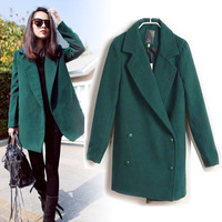 2013 Fashion Vintage Womens Double-breasted Wool Blend Trench Coat Outcoats Women Thicken Fleece Jacket