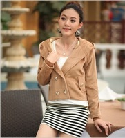 2014 Winter Fashion Design Women's Double Breasted Wool & Blends Jacket Long Sleeve Slim Plus Size Coat  Women Clothing  DH2073